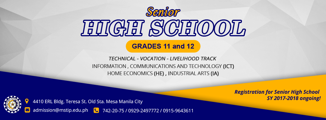 Banner for Senior High School Promo Technology and Livelihood  Track Banner